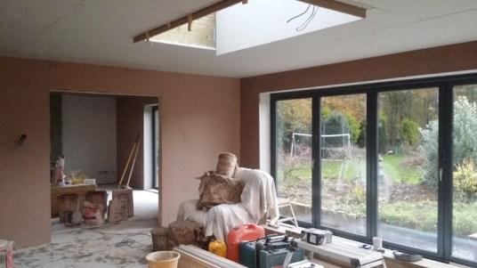 Ceilings prepared for final plaster.