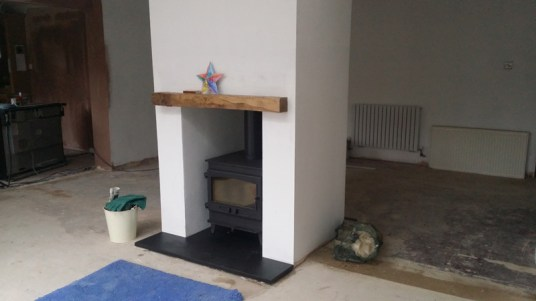 Dual aspect woodburner.