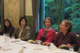 "Speakers at the May 23 talk ""Behind Cloistered Walls: On Translating the Memoirs of an Imperial Convent Abbess."" From left Patricia Fister, Katsura Michiyo, Beth Cary, and Janine Beichman."