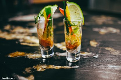 Oyster shooters at Fishbone Kitchen