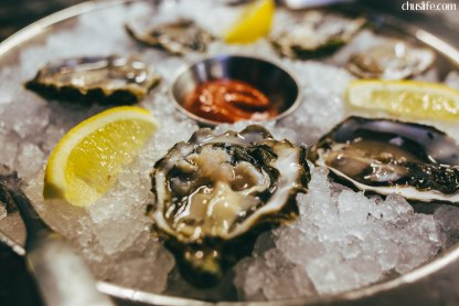 Half dozen oysters on the half-shell at Fishbone Kitchen