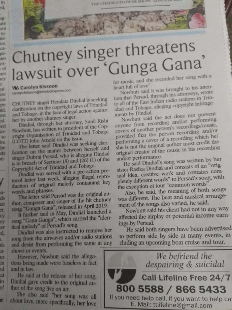 Chutney Singer Threatens Lawsuit Over Gunga Gana