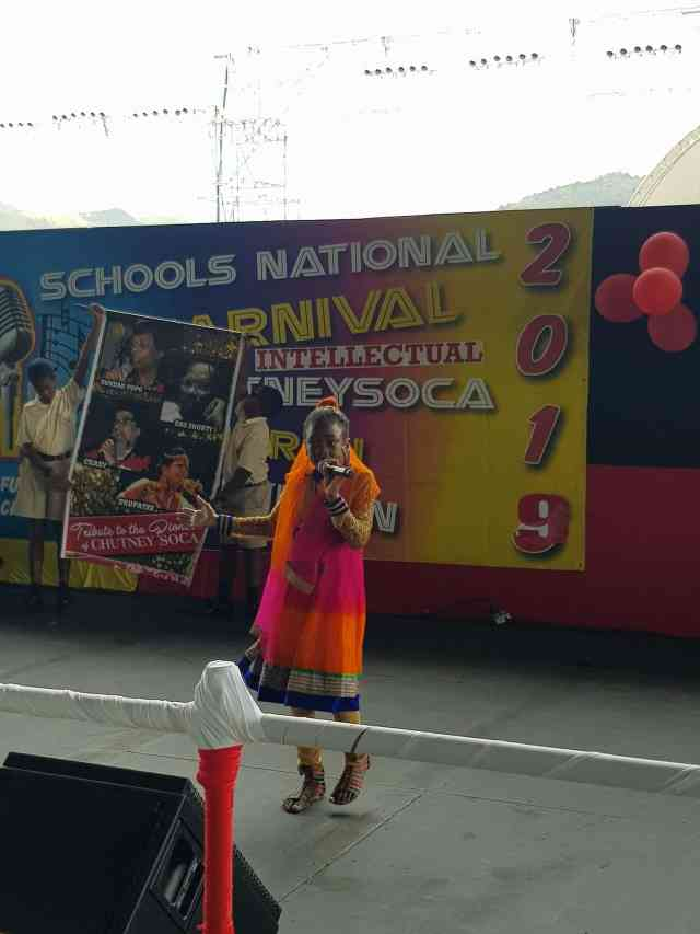 National Carnival Schools Intellectual Chutney Soca Monarch Competition 2019 Orange Dress