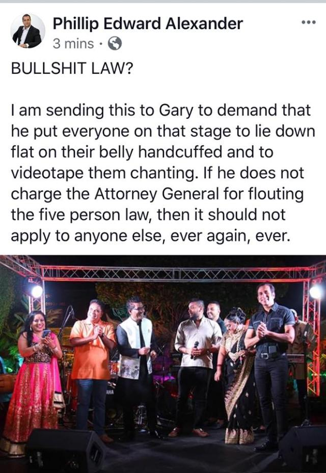 Phillip Alexander Wants Chutney Artistes To Lie Down Flat On Their Belly Handcuffed