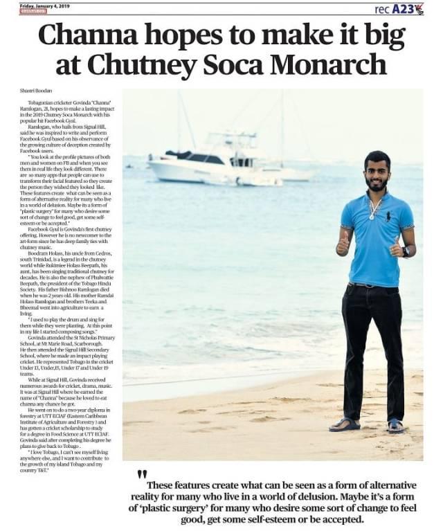 Tobago Chutney Artist Govinda Channa Ramlogan Eyes The 2019 Chutney Soca Monarch Prize