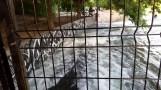 Nước hồ khi dâng đầy quá sẽ trào ra bên ngoài tạo thành dòng nước chảy rất mạnh.
