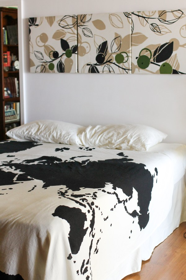 bedroom spruce up with IKEA fabric-5