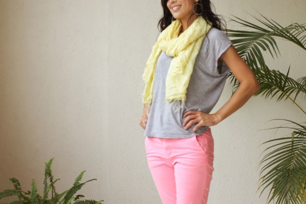 neon pants yellow scarf Sanctum-2