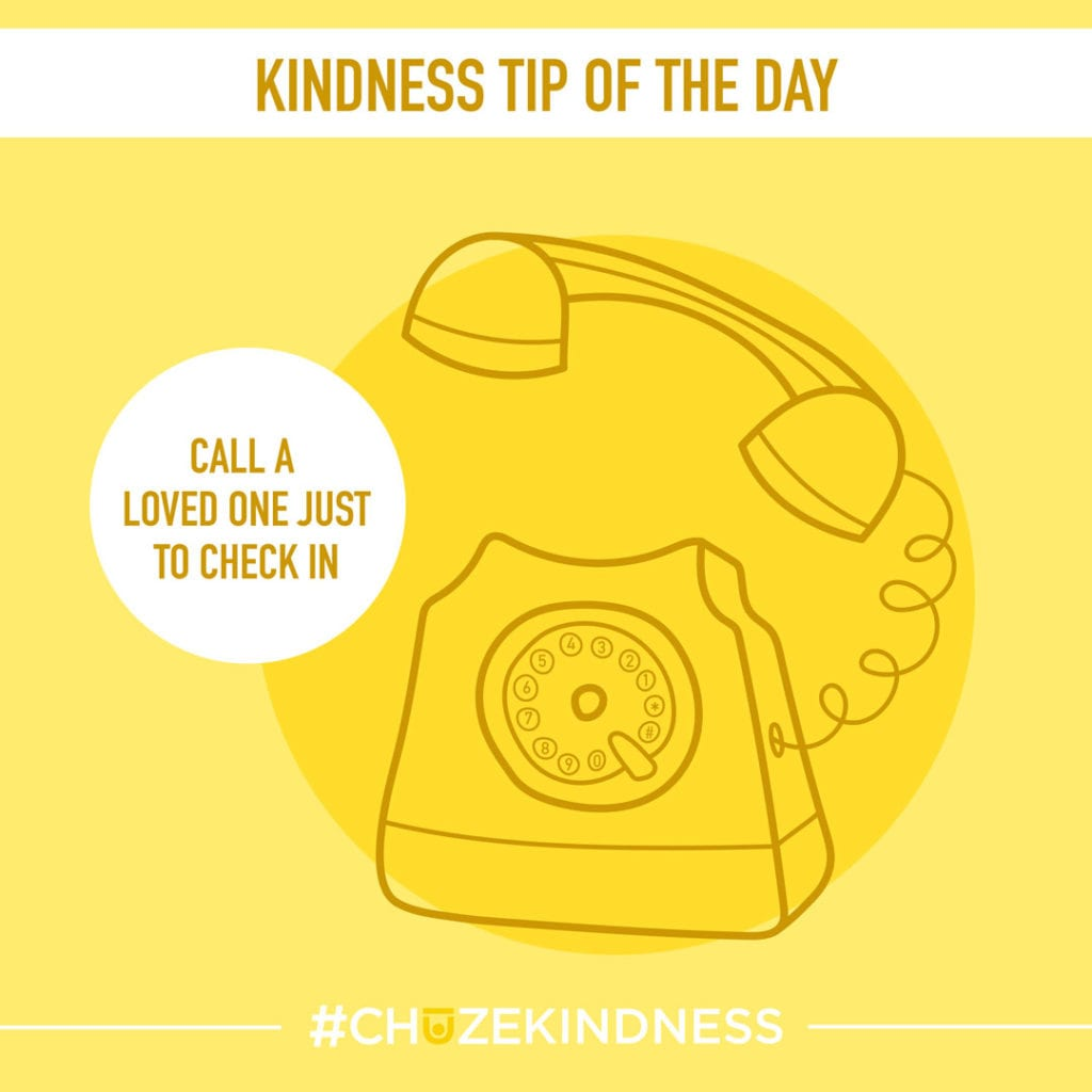 """Yellow Kindness tip of the day graphic with a rotary phone that says """"Call a loved one just to say hello."""""""