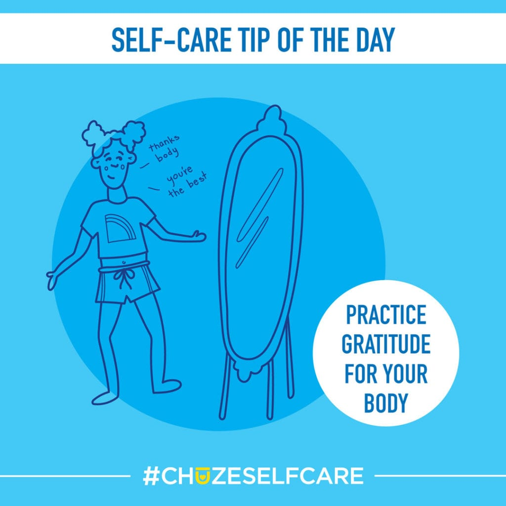 """A blue illustration that says, """"Self Care Tip Of The Day, Practice gratitude for your body."""""""