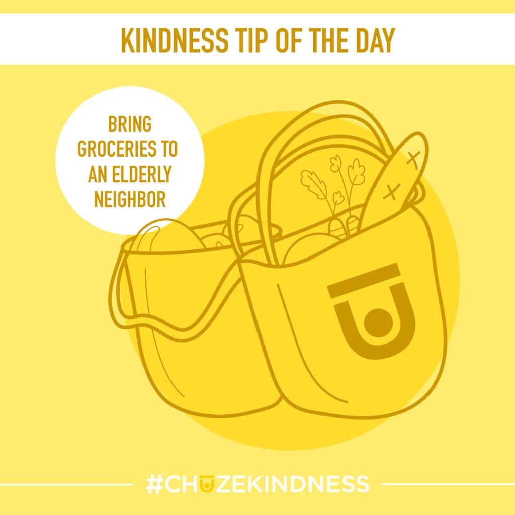 """Yellow Kindness Tip Of The Day graphic with grocery bags that says, """"Bring groceries to an elderly neighbor."""""""