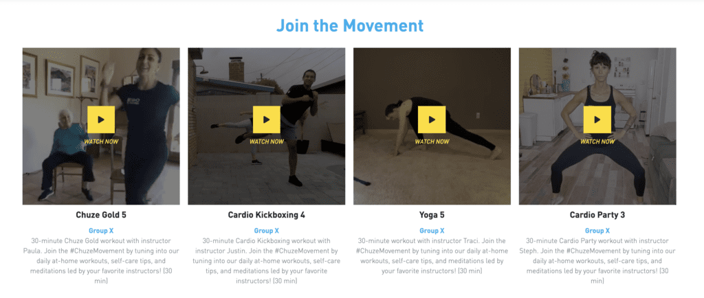 A screen shot of the Chuze Movement workout page which includes four stills of workouts like Chuze Gold, Cardio Kickboxing, Yoga, and Cardio party, with play buttons.