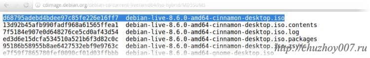 O valor do controle da imagem, a saída da quantidade de hash do arquivo de disco