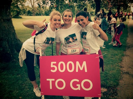The walkers: KC, Chymeera and ABM celebrating the last 500m