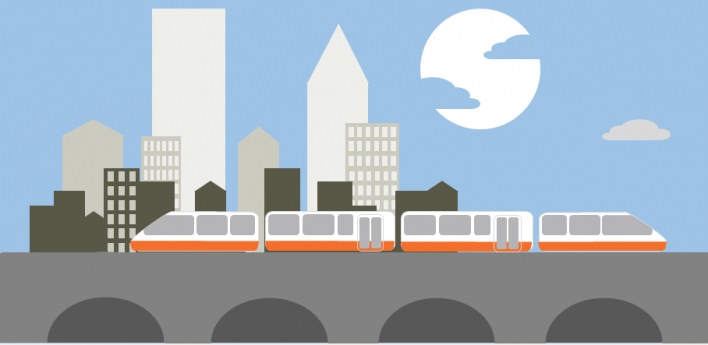 Trains in a city