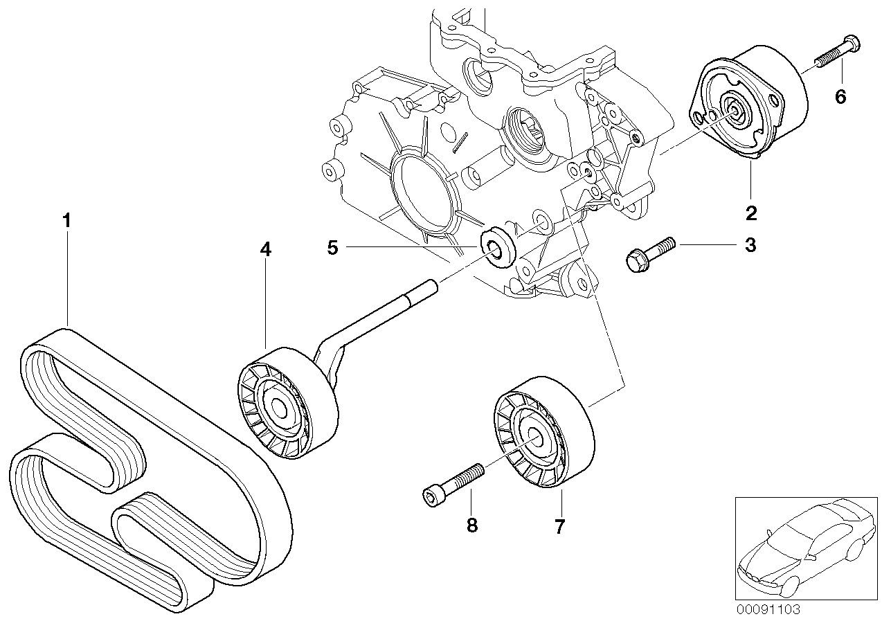 BMW, 3 E46, Compact 320td, ECE, 11 Engine, 11_3316 Belt
