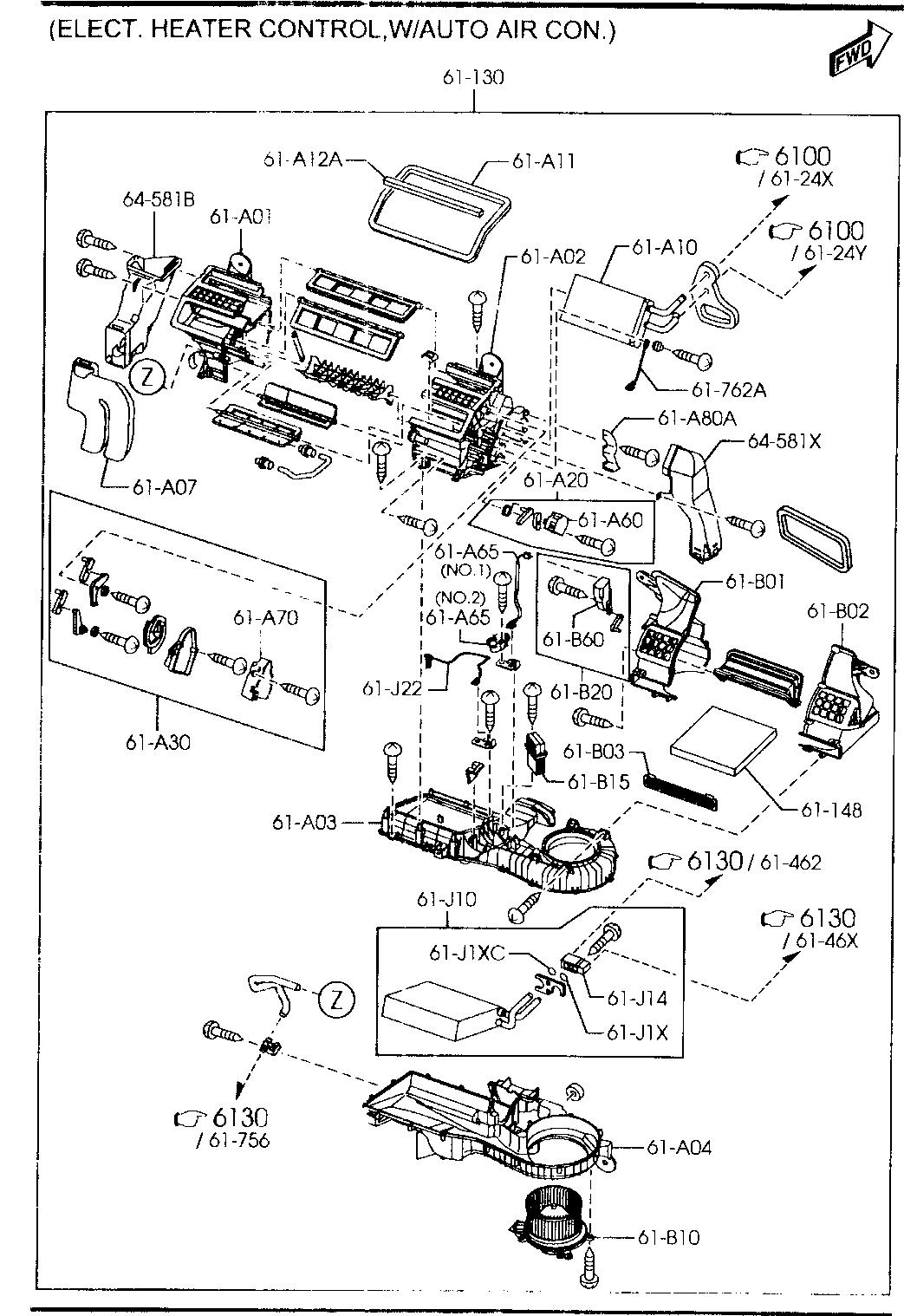 Thermal Evaporator Replacement Parts Mazda GK3J-61-J22 A/C