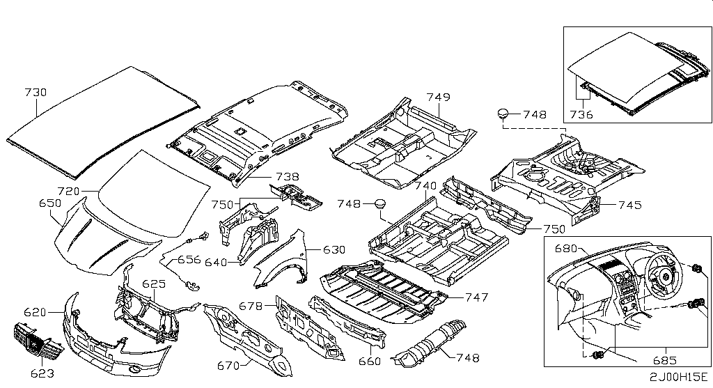 Infiniti (Europe RHD), Q30/QX30 (H15E), BODY(FRONT,ROOF