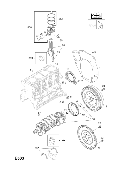 small resolution of gm part number genuine part number description range flywheel and fittings used with manual transmission