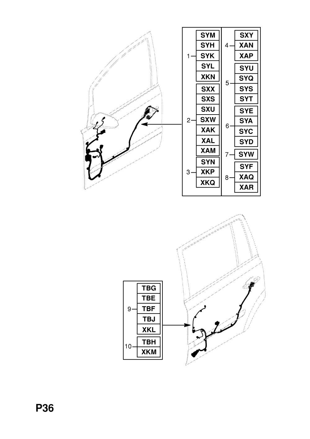 medium resolution of  gm part number genuine part number description range rear door harness