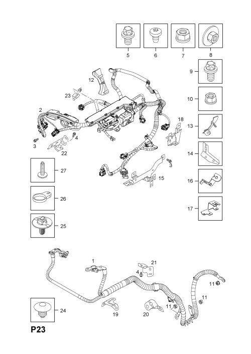 small resolution of list of parts model opel corsa d 2007 p electrical 9 wiring harness