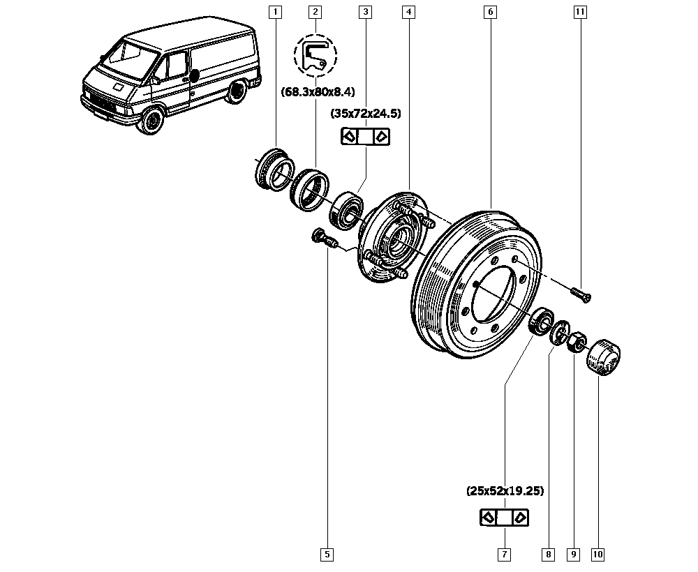 Trafic (from march 1989), T36F, Manual, 33 Rear bearing