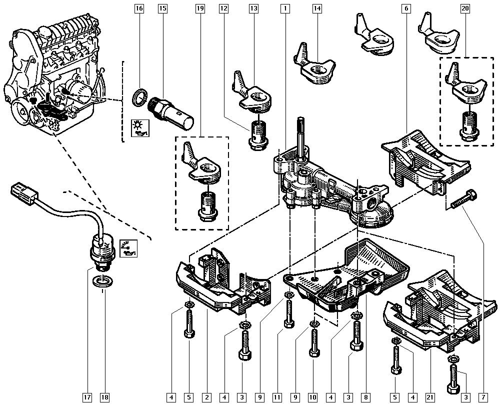 Clio (phase 1 & 2), C57D, Manual, 10 Engine / Oil pump