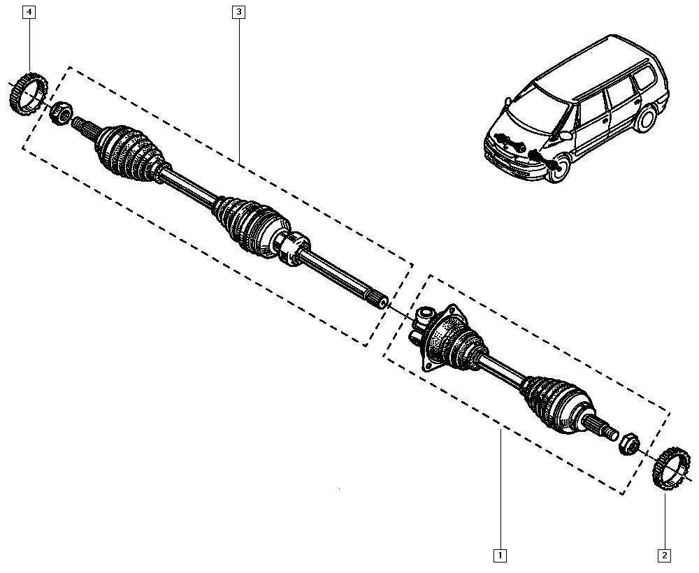 Espace III Avantime, JE0K, Manual, 29 Driveshaft