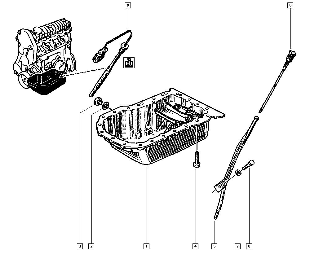Clio (phase 1 & 2), C57M, Manual, 10 Engine / Oil sump