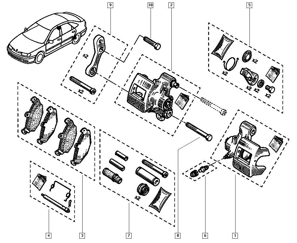 Laguna, B56N, Manual, 34 Rear non-bearing elements / Brake