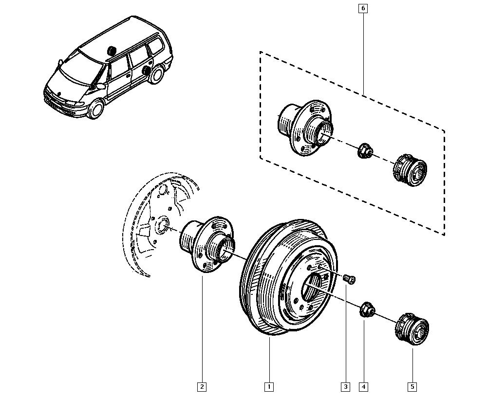 Espace III Avantime, JE0E, Manual, 33 Rear bearing