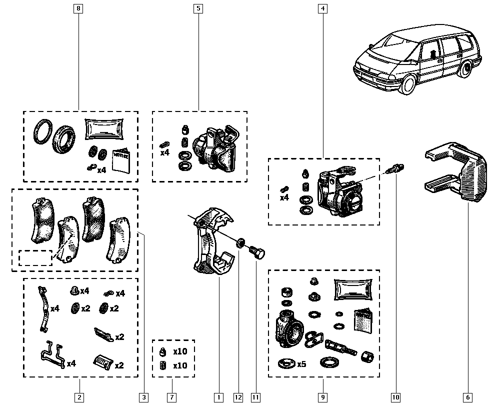Espace II, J637, Manual, 34 Rear non-bearing elements