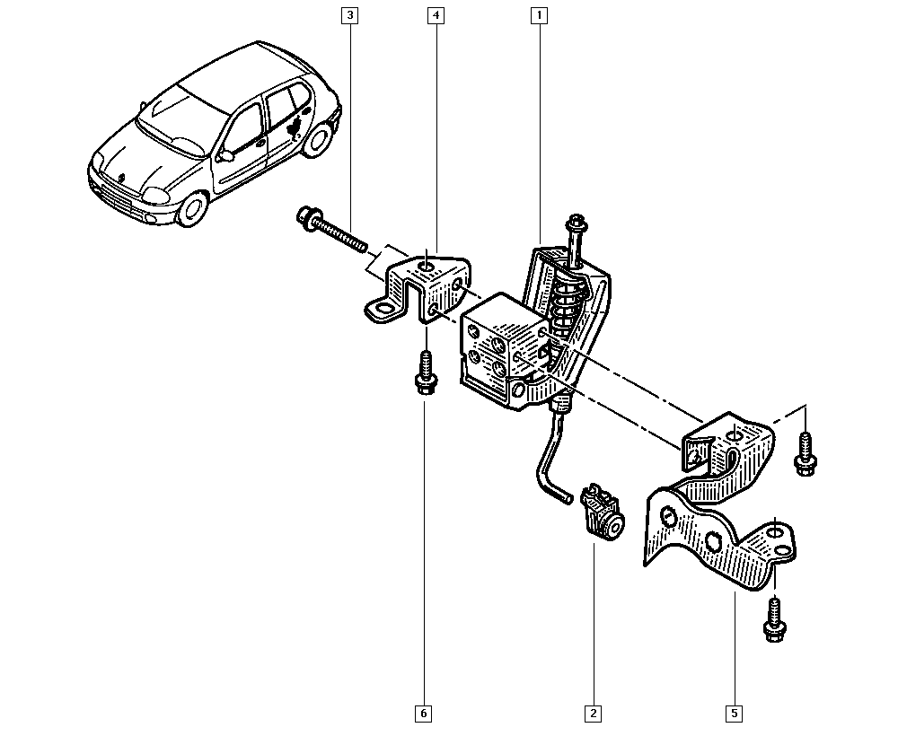 Clio II, BB0L, Manual, 37 Pedal assembly / Braking system