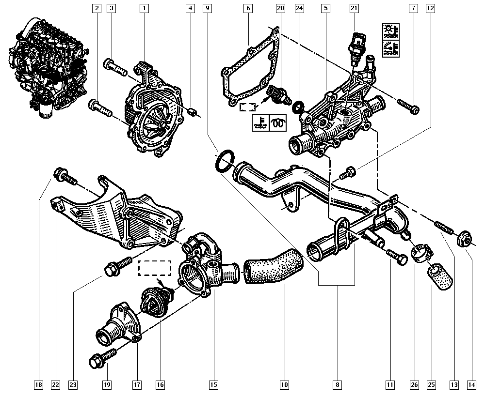 Espace III Avantime, JE0E, Manual, 11 Upper engine / Water