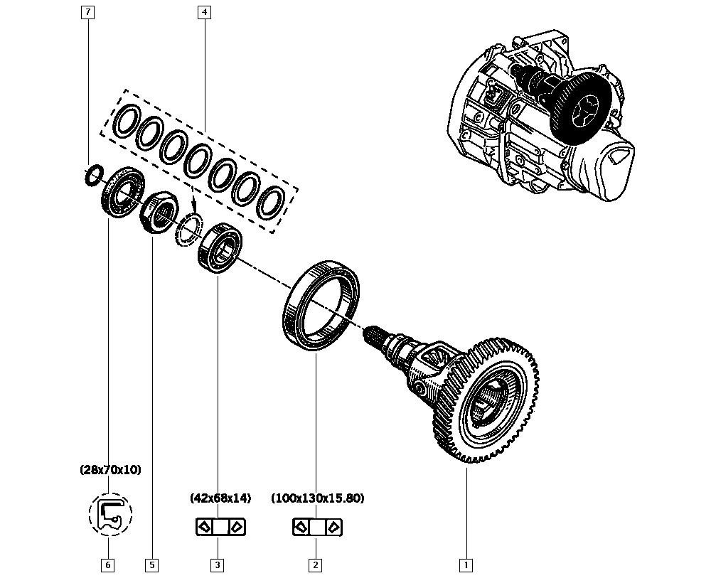 Kangoo, FC1F, Manual, 21 Manual gearbox / Differential