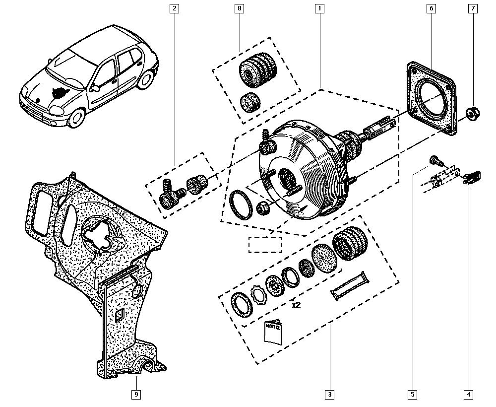 Clio II, BB05, Manual, 37 Pedal assembly / Brake servo