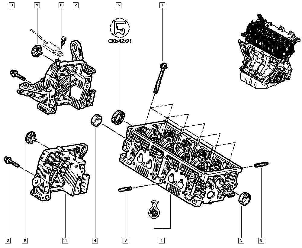 Kangoo, FC0A, Manual, 11 Upper engine / Cylinder head