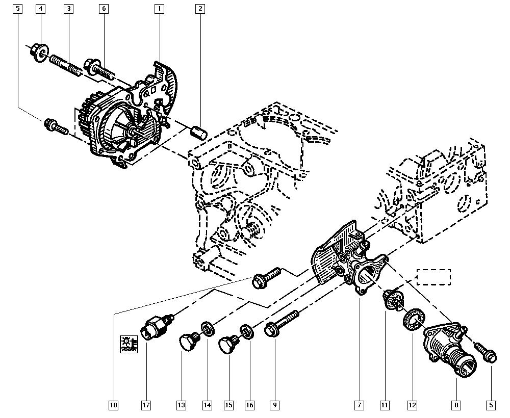 Kangoo, FC0C, Manual, 11 Upper engine / Water pump