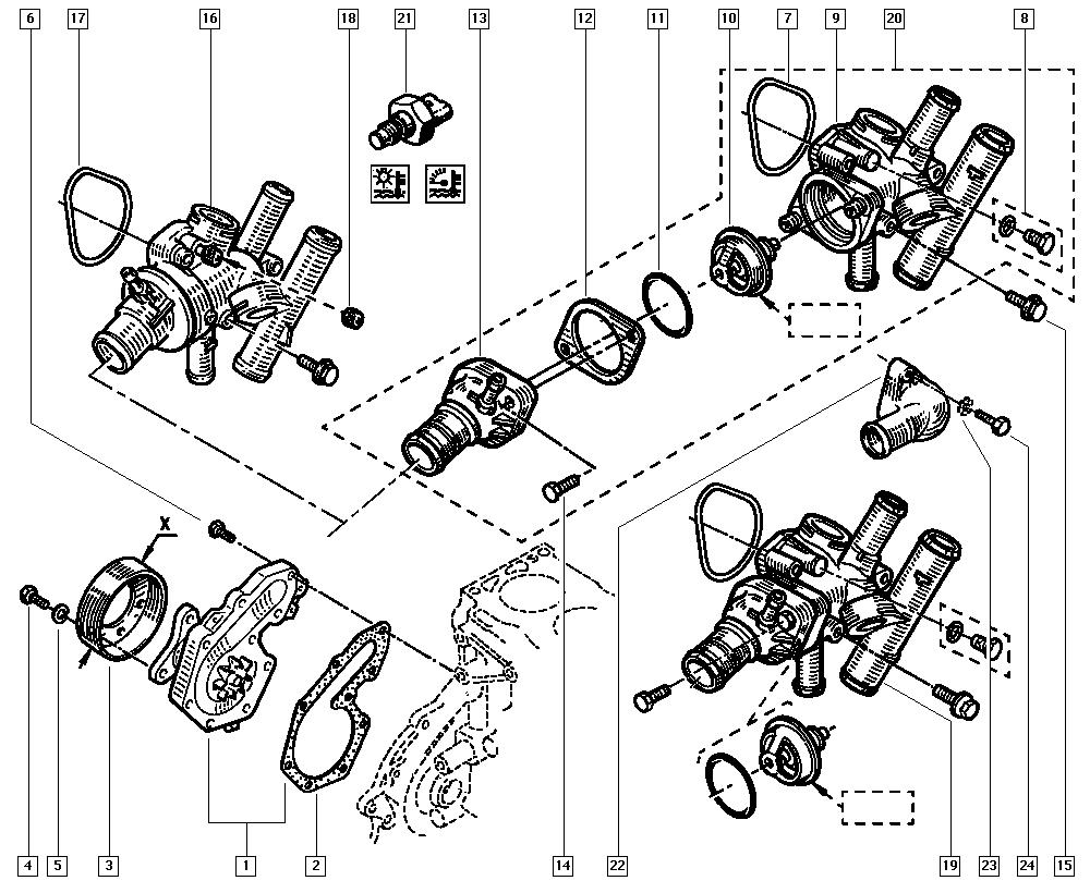 Mégane, BA0G, Manual, 11 Upper engine / Water pump