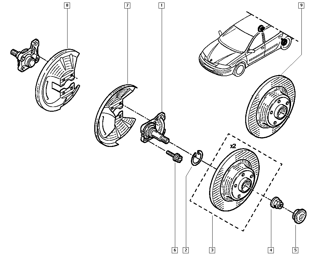 Laguna II, BG01, Manual, 33 Rear bearing elements / Stub