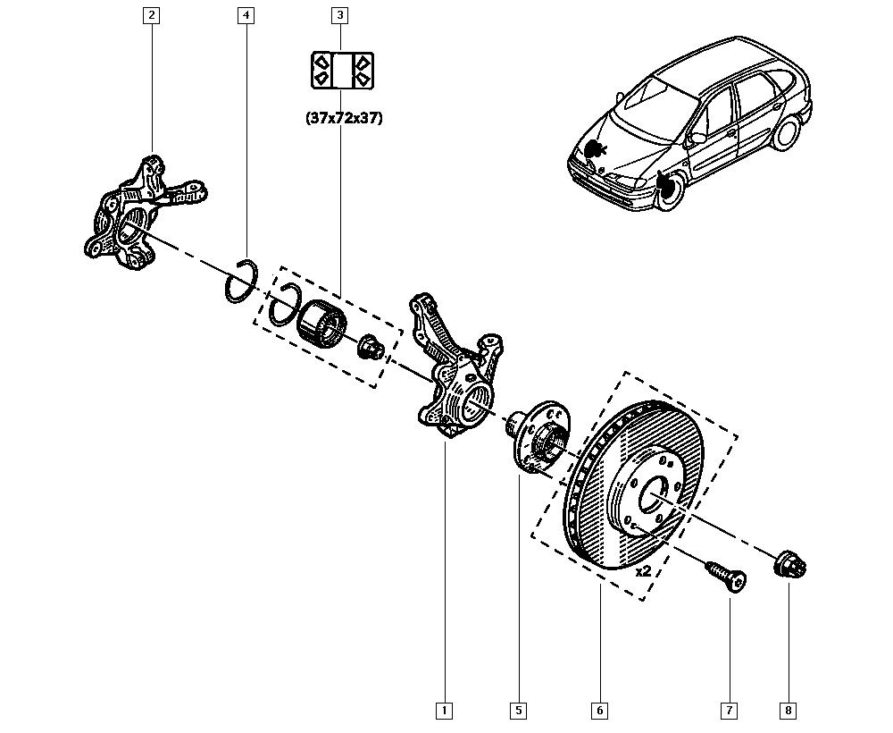 Scénic I, JA1J, Manual, 31 Front bearing elements / Stub