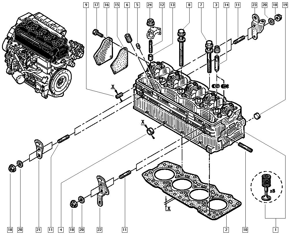 Master II, FD0C, Manual, 11 Upper engine / Cylinder head