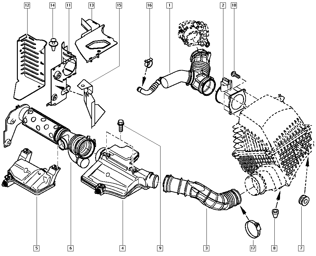 Espace IV, JK00, Manual, 13 Fuel supply / Air filter hoses