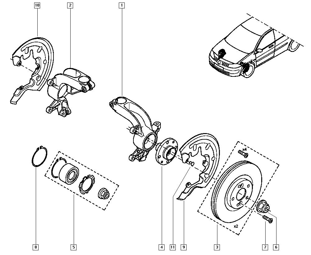 Mégane II, BM05, Manual, 31 Front bearing elements / Stub