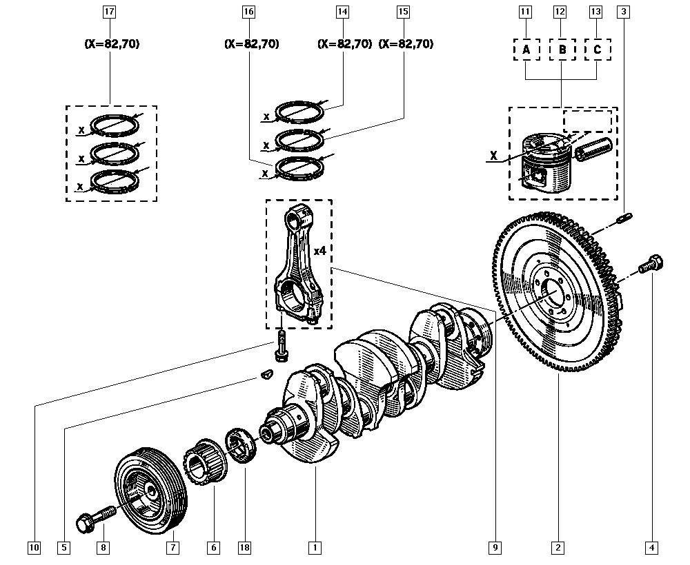 Clio (phase 1 & 2), 557A, Manual, 10 Engine / Crankshaft