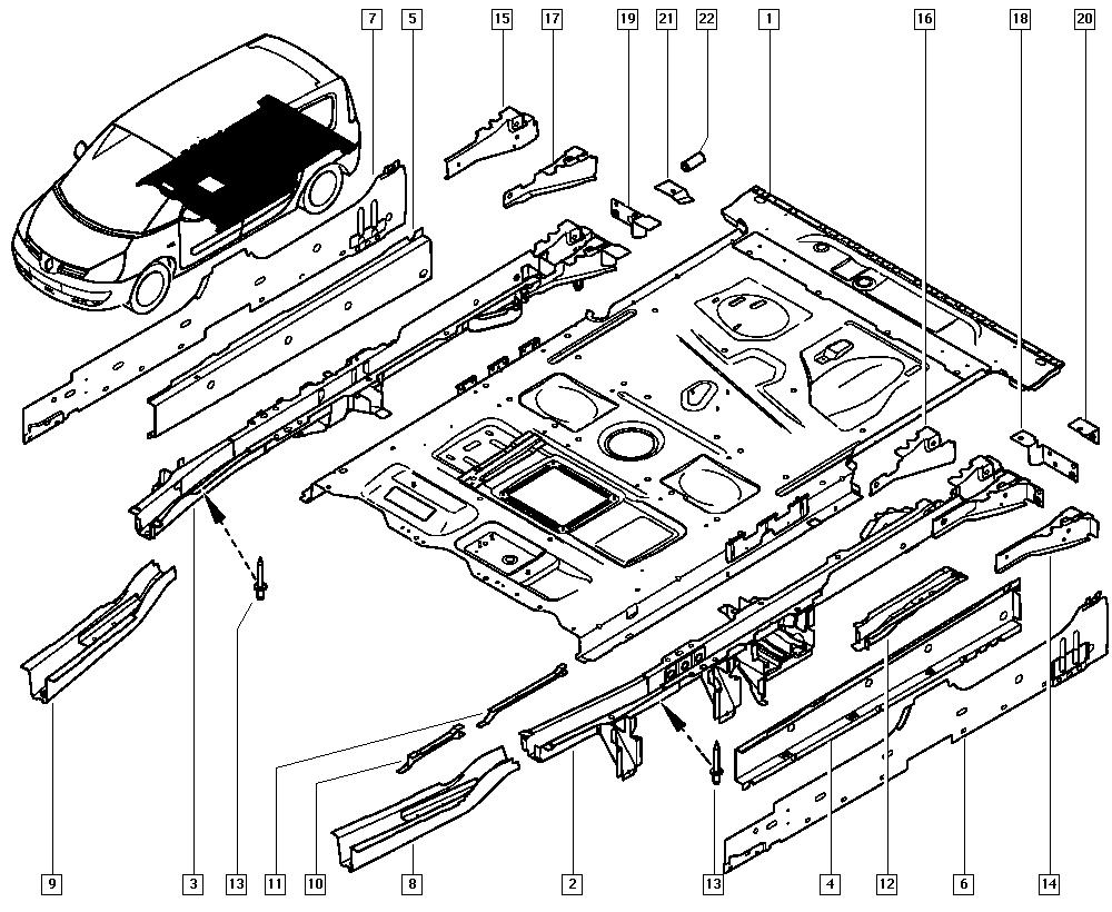 Espace IV, JK01, Bodywork, 41 Lower units / Rear floor