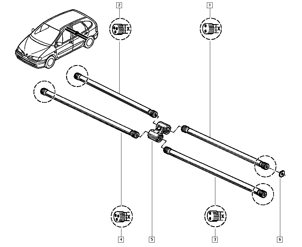 Scénic I, FA0J, Manual, 33 Rear bearing elements / Torsion