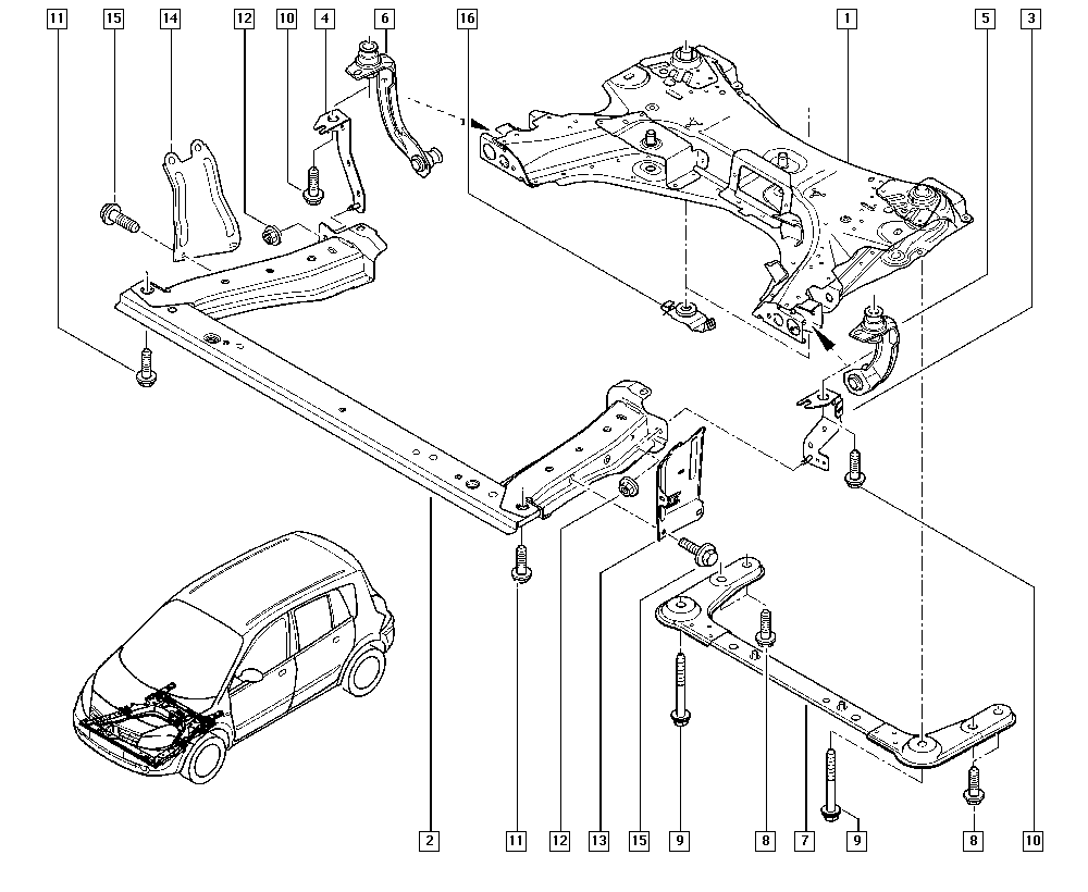Scénic II, JM05, Manual, 31 Front bearing elements / Front