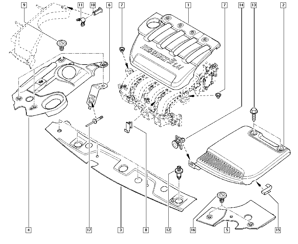 Mégane II, BM0C, Manual, 18 Engine compartment routing