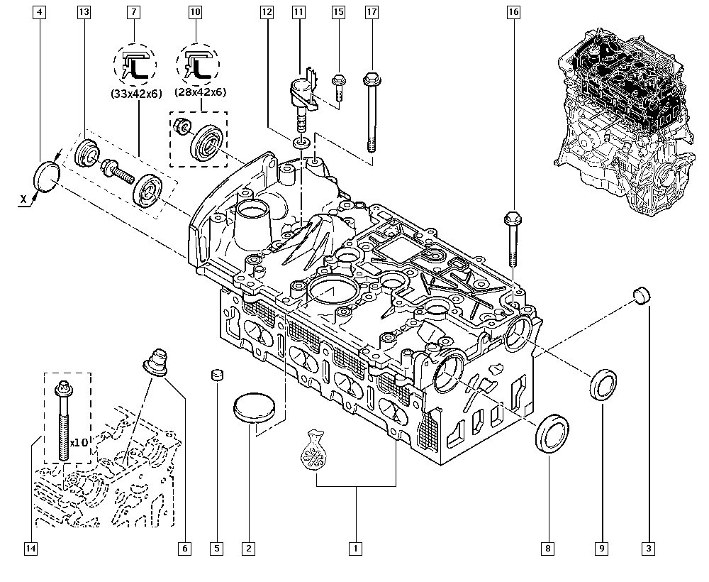 Clio III, BR1J, Manual, 11 Upper engine / Cylinder head